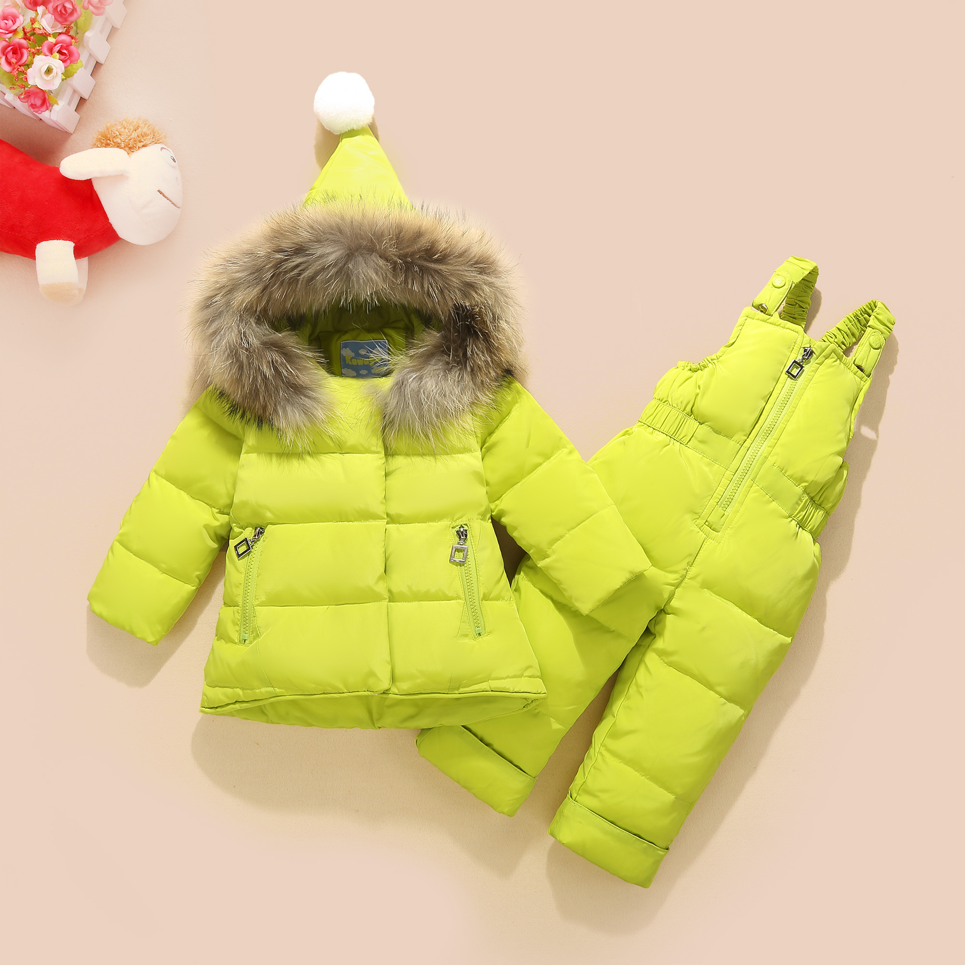 цена на Kava Feather Children's Down Jacket Suit Boys and Girls Fur Collar Suit Infant Baby Two-piece New Thickening