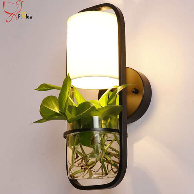 Modern Potted Plant Wall Lamp For Restaurant Balcony Deco Lighting Cloth Lampshade Gl Flower Pots