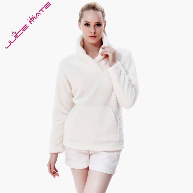 d52592a1afa JUICE MATE Loose Fit Fluffy Fleece Sweatshirt Jacket Winter Warm Pullover  Shawl Collar Hoodie Sweatshirt Blouse For Women Girls