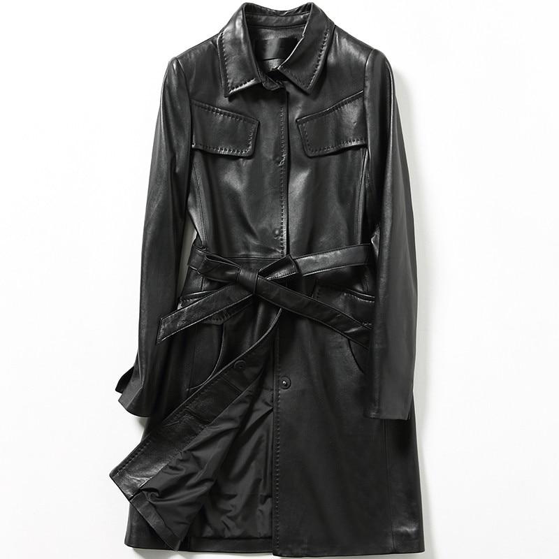 Qualité Femelle Véritable Printemps Veste Femmes Mouton Manteaux Black Peau En Manteau Cuir Tranchée De Automne Supérieure Long Vestes 2018 Slim IwEdcUqI