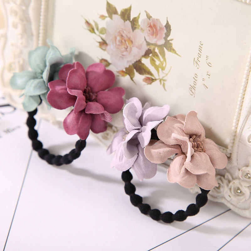 4Colors High Quality Cloth Flower Shape Elastic Hair Bands Hair Rope Popular Women Girls Rubber bands Hair Ring Hot Sale