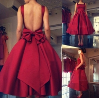 vestidos de festa 2019 Burgundy Ball Gown Tea Length Prom Party Dresses Cute Square Evening Gowns Homecoming Dress Plus Size