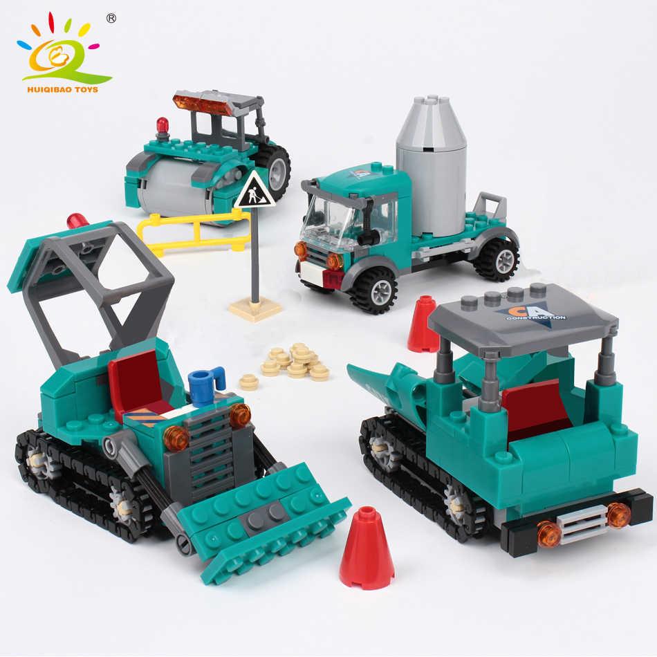 462pcs 4in1 עיר הנדסת משאית אבני בניין תואם legoing חופר דחפור בורא לבני בנייה לילדים מתנה