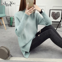 AIDAYOU women's sweater pure cotton turtleneck pullovers 2018 autumn and winter Korean style sweater student wear kit ouc3386