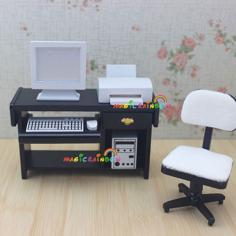 Remarkable Us 14 39 10 Off 1 12 Scale Dollhouse Miniatures Desk Computer Chair Printer Office Furniture Wood 4Pc For Doll House In Furniture Toys From Toys Download Free Architecture Designs Scobabritishbridgeorg