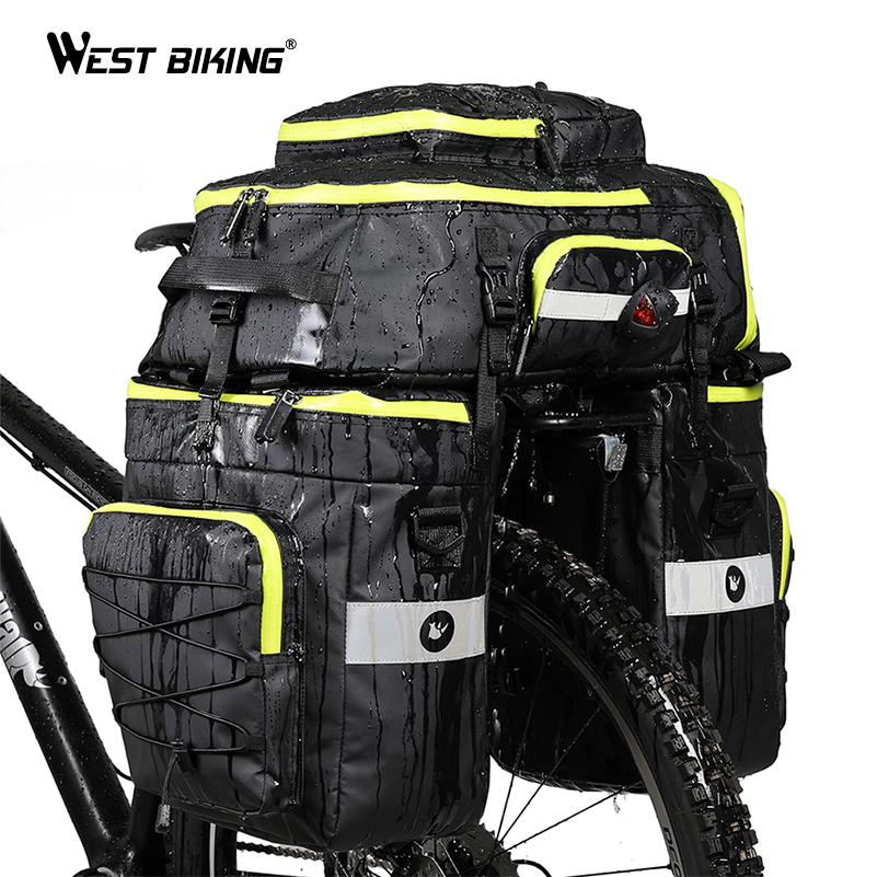 WEST BIKING 75L Bicycle Bags 3 In1 Cycling Pannier Luggage Mountain Bike Rear Seat Trunk Bags
