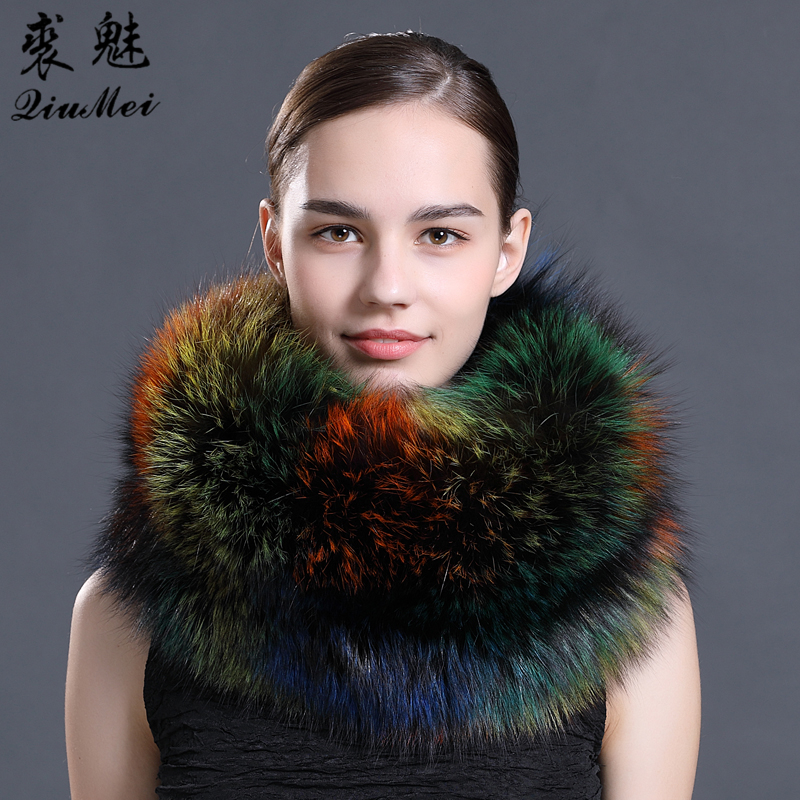 75cm Fashion Real Fox Fur Scarves Colorful Women Scarf 2018 New Winter Warm Collar Long Warm Ring Real Fur Scarf For Ladies