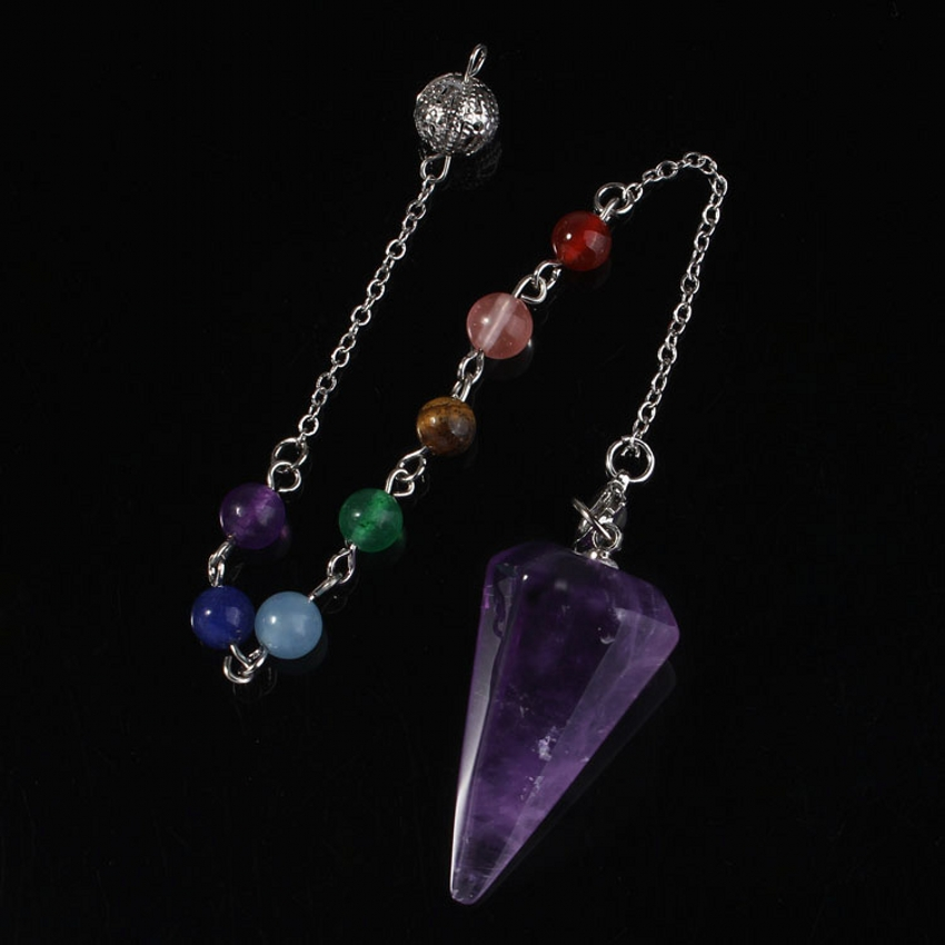 Kraft-beads Hexagon Pyramid 7 Stone Beads Chakra Chain Pendulum Natural Purple Quartz Amethist Pendant Charm Jewelry