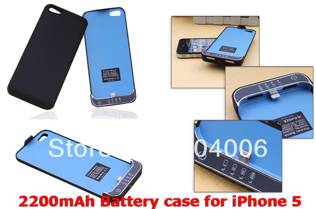New arrival 2200mAh External Backup Battery Charger Case for iPhone 5, Free shipping, white/yellow color,wholesale price