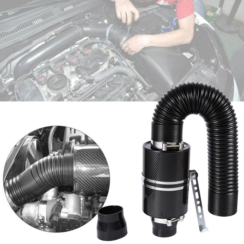 Image 5 - Car Cold Air Filter Induction Kit High Flow Ducting Intake Admission Bent Stretch Tube Intake Induction Pipe Hose Kit Universal-in Air Intakes from Automobiles & Motorcycles