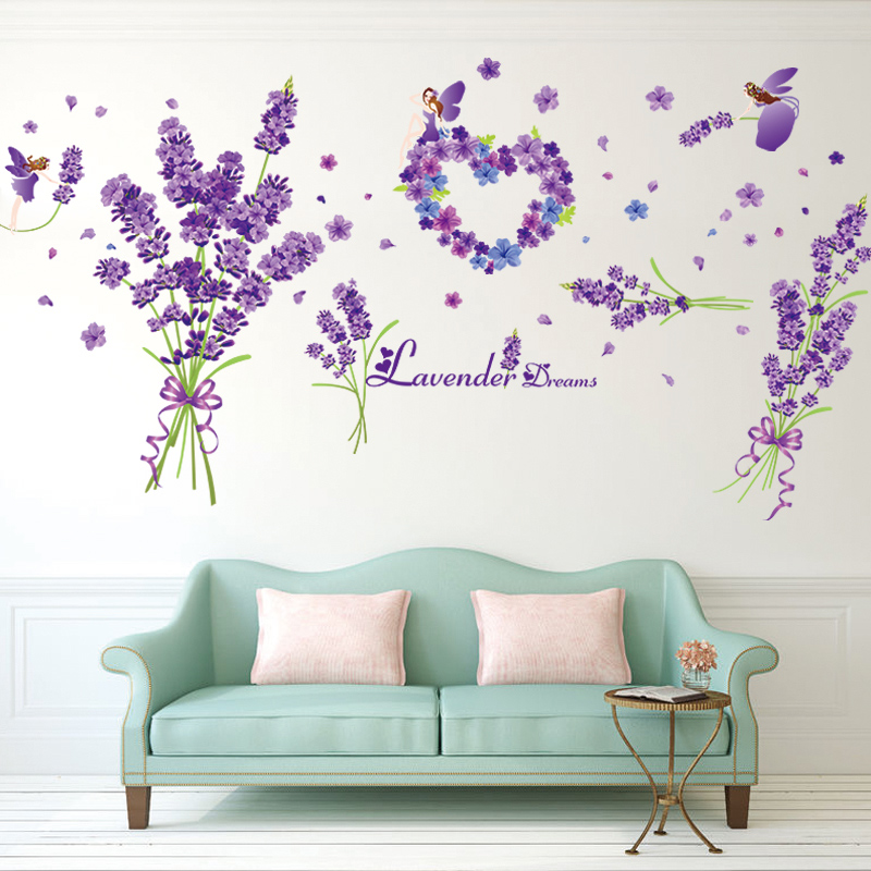 [SHIJUEHEZI] Purple Lavenders Wall Stickers PVC Material DIY Flowers Home Decor Sticker for Living Room Bedroom Decoration