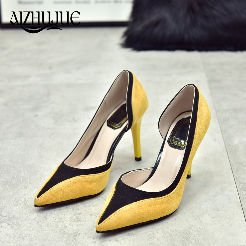 New 2018 women pumps fashion pointed toe Hit color leather high heels spring autumn party shoes woman Zapatos Mujer yellow red choudory high heels woman pumps spring autumn flower decoration woman shoes attractive flock pointed toe party zapatos mujer
