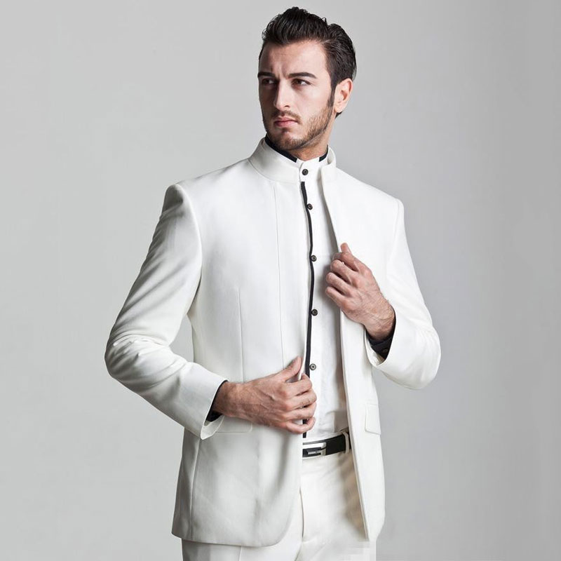 Stand Collor White Men Suits For Wedding Suits For Men Groom Tuxedos Man Blazer Evening Party Slim Fit Terno Masculino 2 Pieces