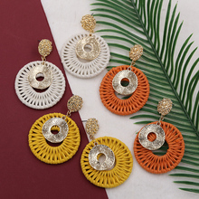 yellow big Earrings for Women Handmade Round Crochet Earring Gold Hammered Earing rattan Pendientes Verano 2019