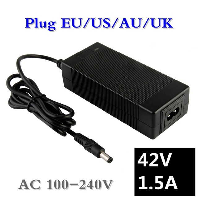 1pc Best Price 42V 1.5A Lithium Polymer Battery Charger 100-240V 5.5mm * 2.1mm EU Portable Charger / En / US / UK Plug