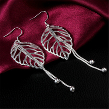 Free shipping Fashion High Quality 925 Plating Silver Earrings Tassel Hollow Leaves Earrings Jewelry wholesale Hot Selling