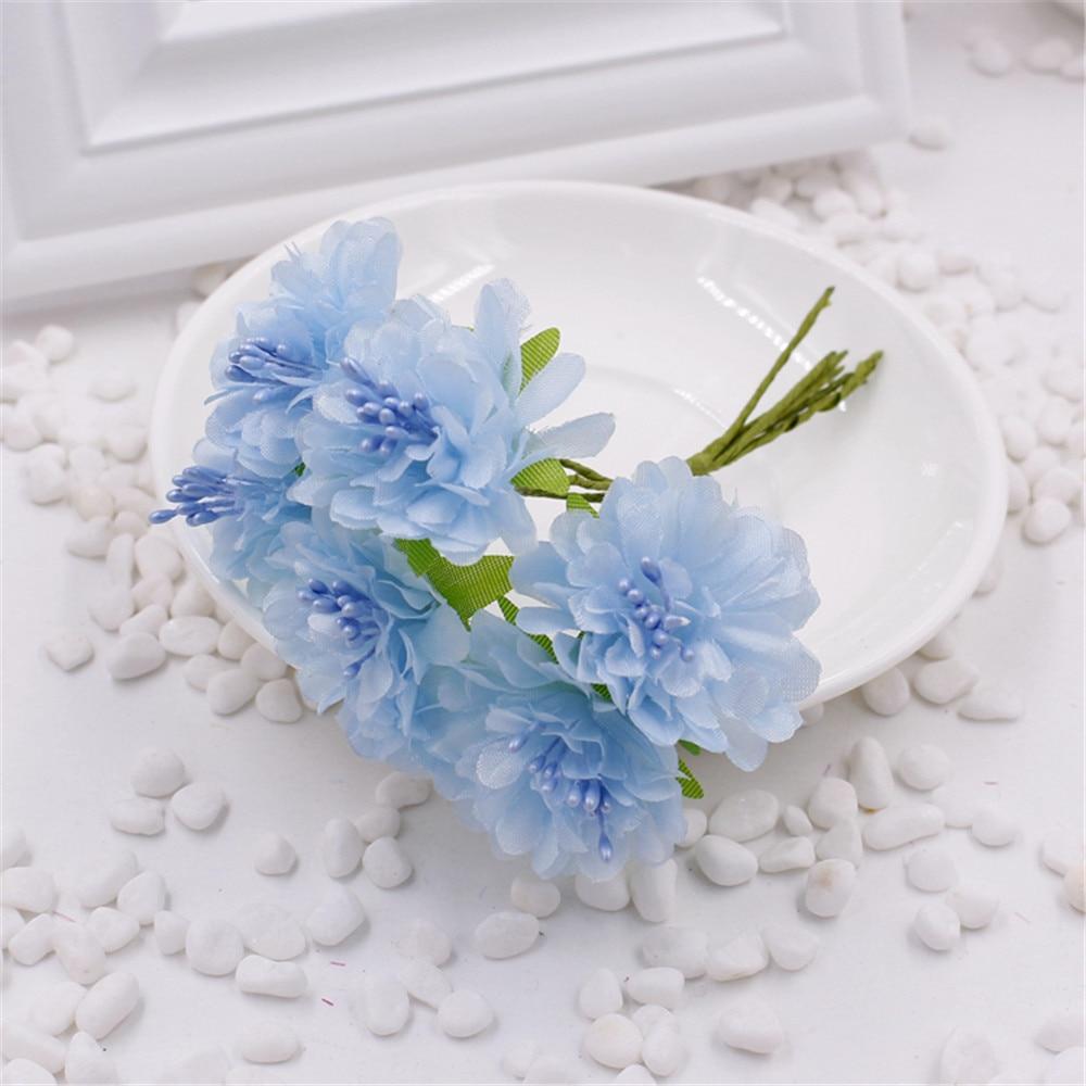 ᗐ6pcs / lot 9 cm artificial silk corsage headdress dahlia daisy ...