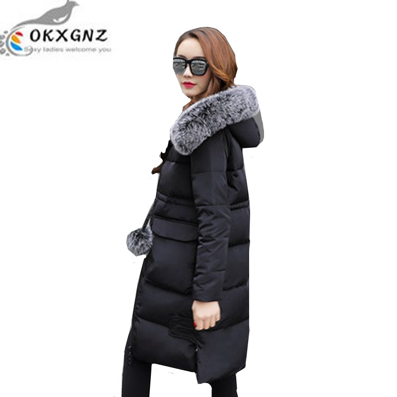 OKXGNZ 2017New Winter Fur Collar Women Coat  Big Yards Thicken Warm Cotton Jacket Coat Fashion Hooded Long Jacket Women A02 цены онлайн