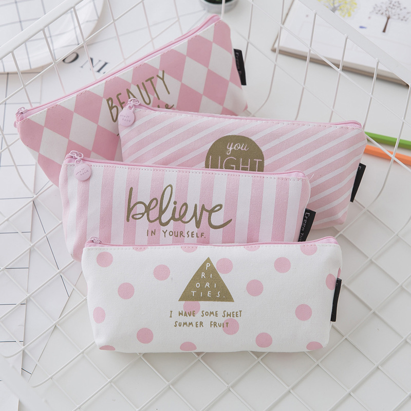 New small fresh zipper pink student pencil case creative stationery bag wholesale in Pencil Bags from Office School Supplies