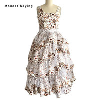 Floral Printed Ball Gown Ruffled Flower Girl Dresses 2017 with Rhinestone for Weddings Kids Girl Pageant Beautiful Gowns BF95
