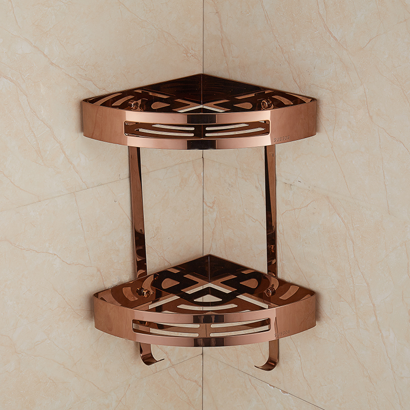 Triangle Bathroom Shelves Double Layer Stainless Steel Rose Gold Corner Shower Shampoo Cosmetic Storage Shelf Bathroom Products