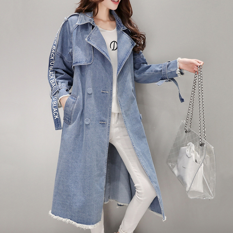 Autumn women trench coats Korean waist waist denim coat femme 2018 temperament overcoat female's long windbreaker large size