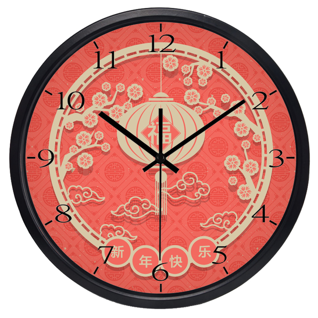 chine nouvelle ans meilleurs voeux decrorative horloge murale verre horloge en metal pas de tic
