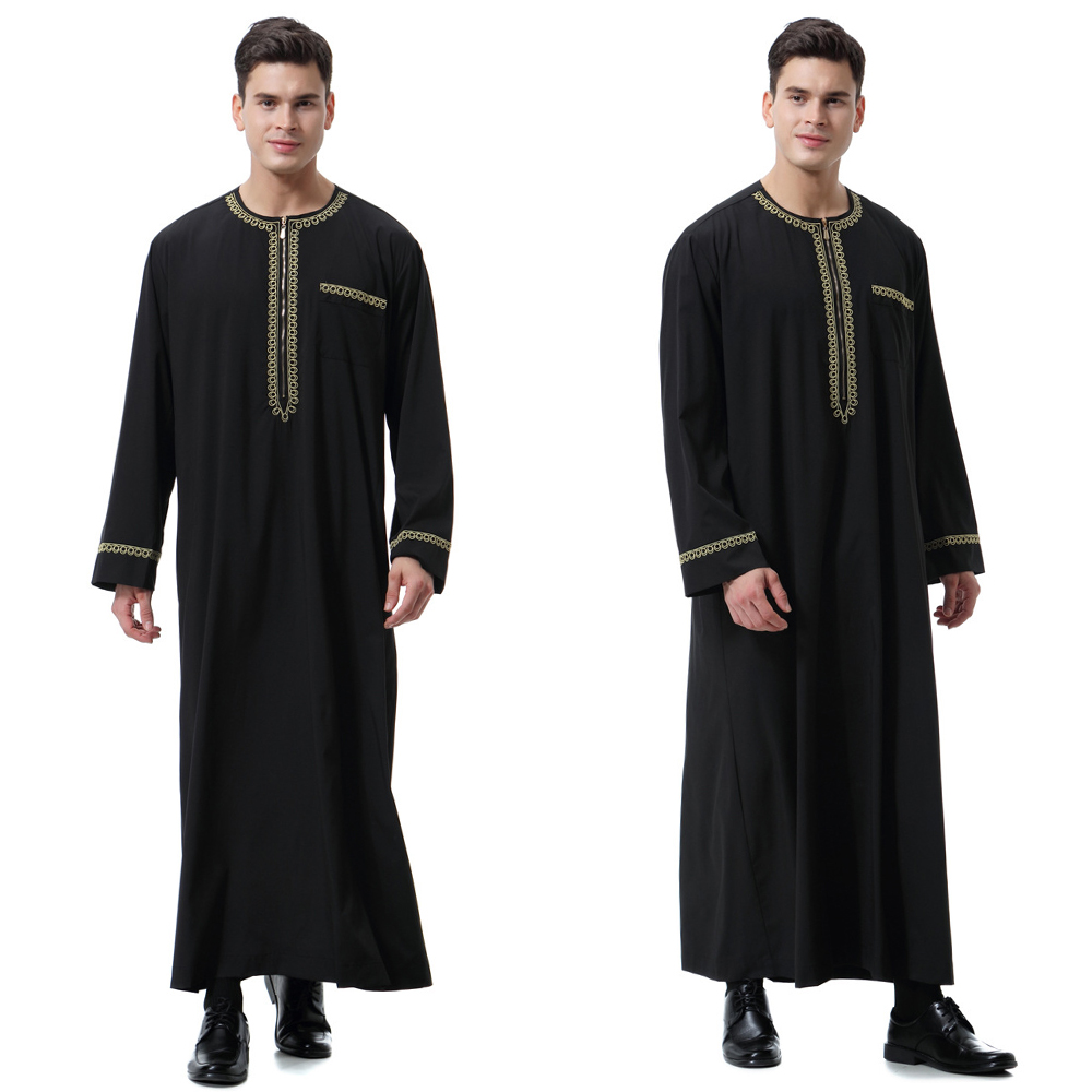 HTB1DRCJeRaE3KVjSZLeq6xsSFXaI - New black jubba thobe islamic clothing men caftan homme zipper arabic djellaba homme pakistan robe muslim djellaba men islam