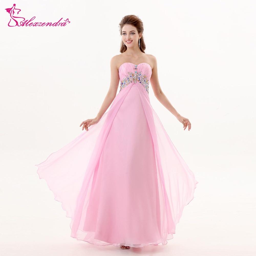 7ad983c0bb Alexzendra Sweetheart Beaded Chiffon Pink Long Prom Dresses Plus ...