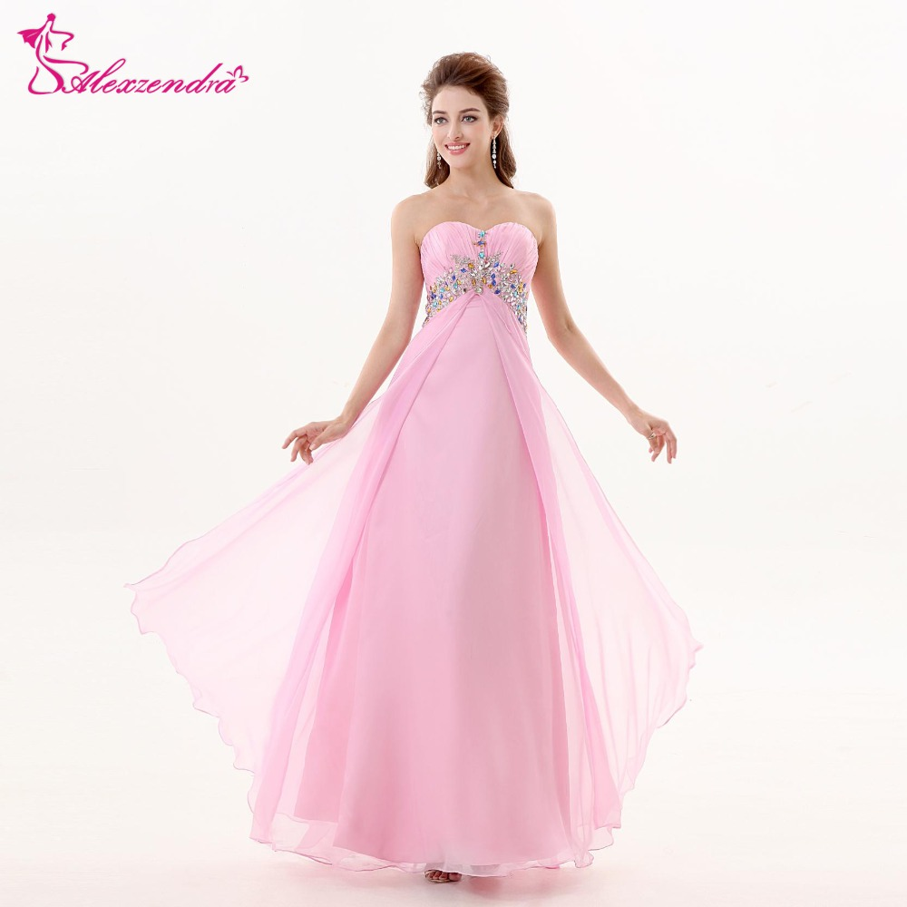 Alexzendra Sweetheart Beaded Chiffon Pink Long   Prom     Dresses   Plus Size Bridesmaid   Dresses   Party   Dress   for Girls