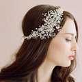 Luxo Handmade Wedding Tiara Headbands Flora de cristal nupcial strass Headpiece mulheres noiva jóias acessórios de cabelo cabeça