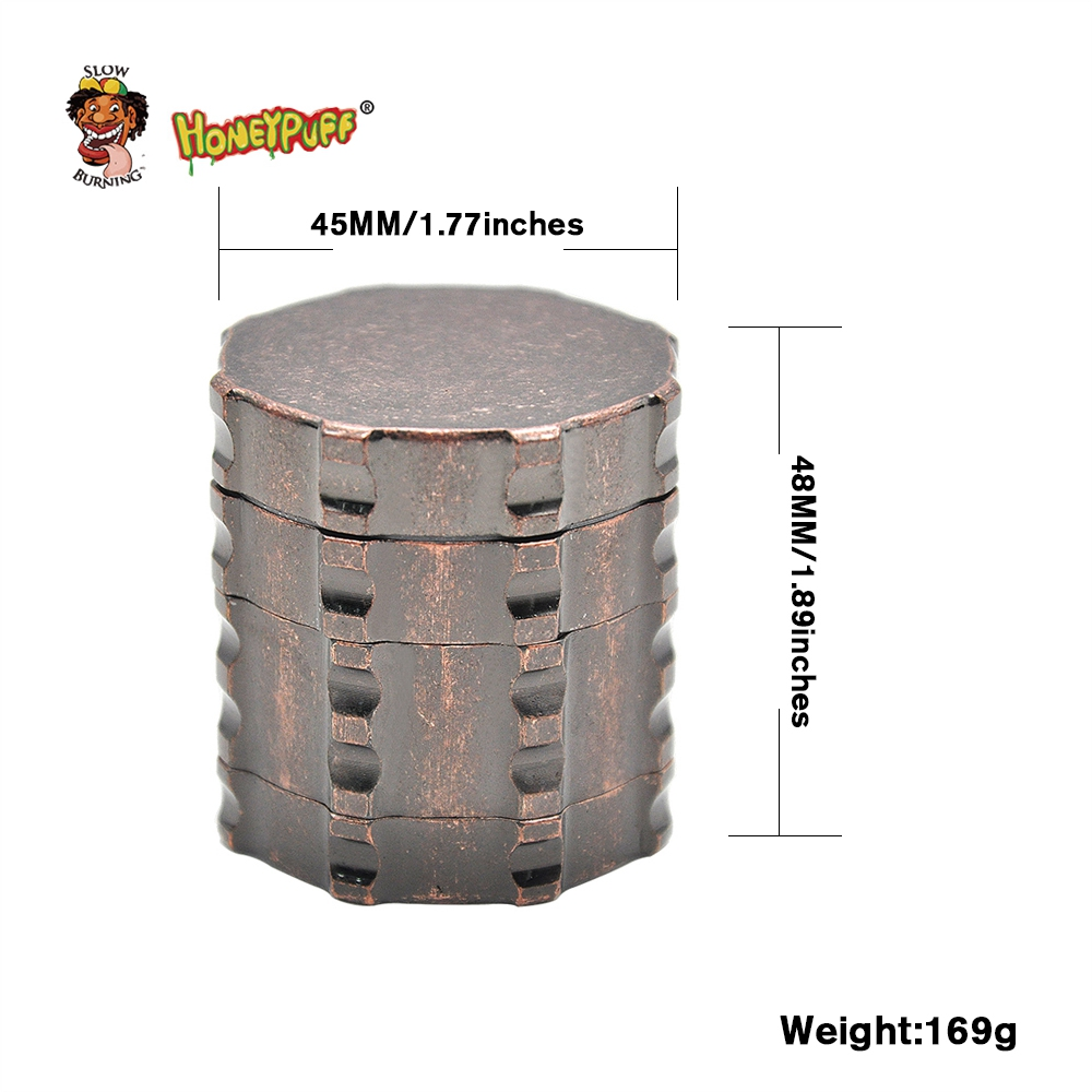 HONEYPUFF Heavy Zinc Alloy 4 Part 45mm Tobacco Herb Grinder Gear Spice Tobacco Grinder Crusher Hand Muller Pepper Grinder