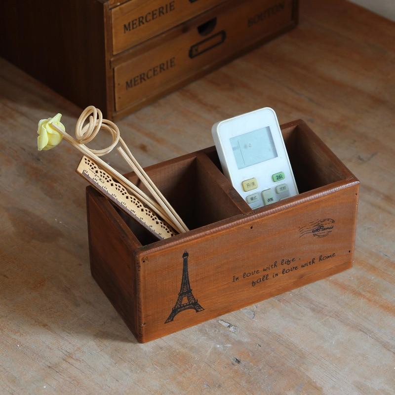 2 lattice wooden storage box Organizer for tools Jewellery Retro Remote controller storage holder Office desktop storage boxes