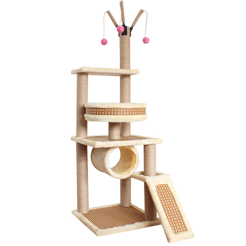 Cat Scratching Post Climbing Tower Tree House Dual use Four Seasons Sisal Rope Climbing Frame Cats Mat Scratch Toys Play House