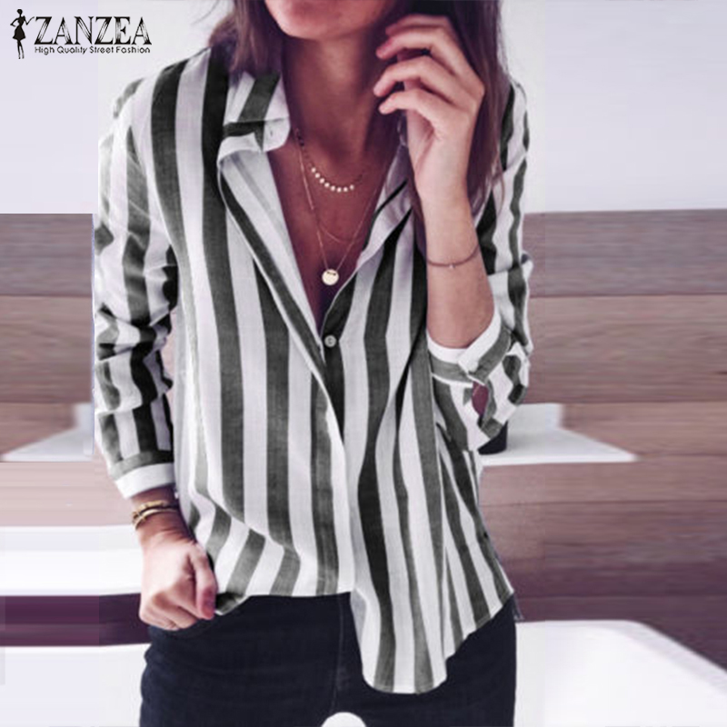 afac52ab4eba 2018 Autumn Blouse ZANZEA Elegant Women Striped Shirt Casual Lapel Neck  Long Sleeve Buttons Down Work OL Blusas Top Plus Size-in Blouses & Shirts  from ...