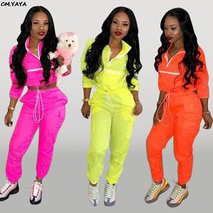 CM.YAYA women pants suits two pieces set sporting tracksuit