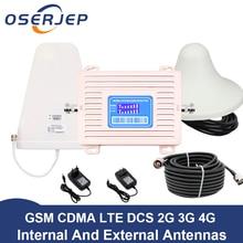 Affichage LCD CDMA 850 DCS 1800 mhz double bande répéteur GSM 2G 3G 4G LTE amplificateur de téléphone cellulaire Mobile Booster + LPDA/panneau Anten