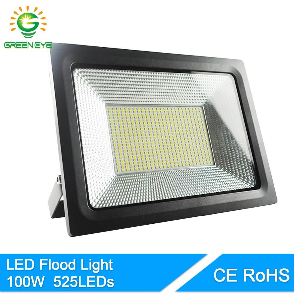GreenEye 220V 100W Real Watt Hight Bright LED Floodlight IP66 Waterproof Flood Light Outdoor Lighting Holofote Projecteur Lamps