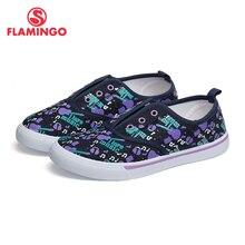 Фламинго весна-лето синий текстильный холст из натуральной кожи анти-скользкий принт размер 31-36 детская обувь для девочек 81K-FY-0680