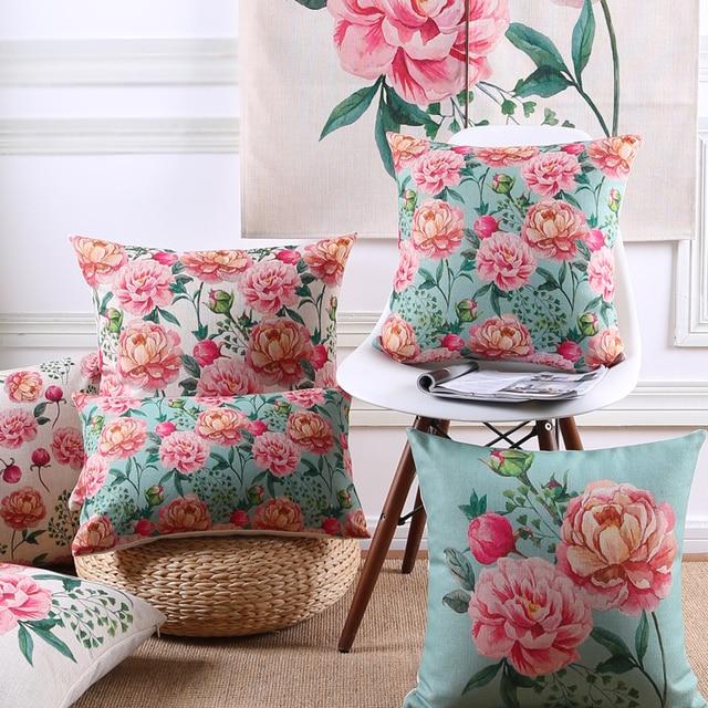 Américain Estival Fleuri Style Housse De Coussin Fleurs Pivoine
