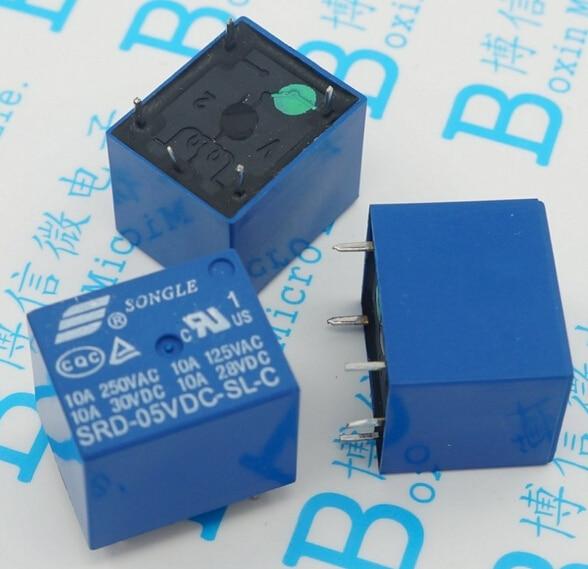 5pcs SRD-05VDC-SL-C 5VDC 10A 250 VAC Power relay PCB Type T73-5V 5 feet SRD-5VDC-SL-C 10A 125VAC New and original Free shipping
