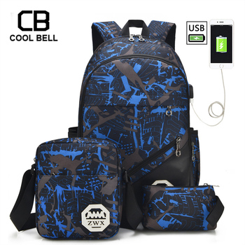 3pcs Set School Bags For Girls Teen Girl School Backpack For Boys Waterproof Travel Sport Backpack Camouflage Bookbag SchoolBag 1