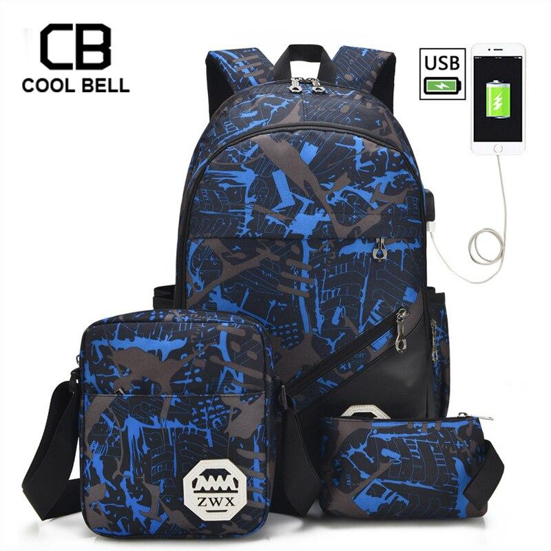 3pcs Set School Bags For Girls Teen Girl School Backpack For Boys Waterproof Travel Sport Backpack Camouflage Bookbag SchoolBag
