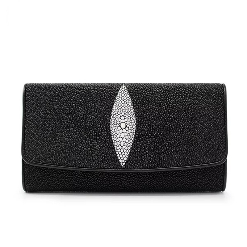 Classical Unisex Black White Color Designer Genuine Stingray Skin Leather Female Ladies Long Hasp Wallet Wome's Large Card Purse