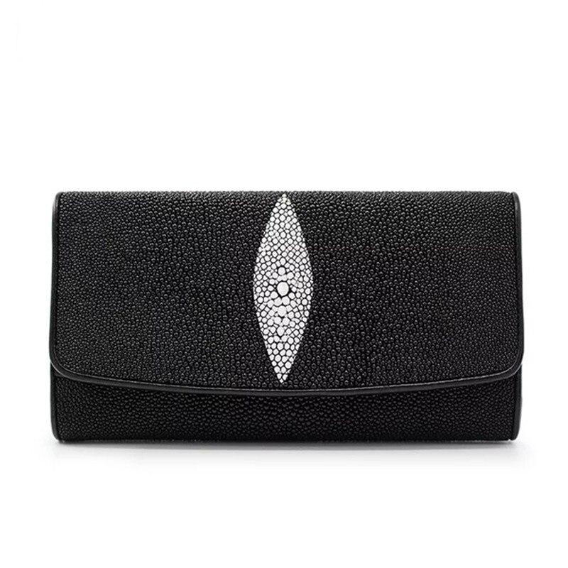 클래식 디자인 블랙 화이트 정품 가오리 가죽 여성 긴 trifold 카드 지갑 이국적인 스케이트 스킨 여성 대형 전화 지갑-에서지갑부터 수화물 & 가방 의  그룹 1