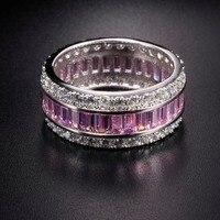 Eternal Pink SAPPHIRE RUBY PERIDOT KUNZITE TOPAZ 925 Sterling Silver Engagement Wedding Rings For Women Men