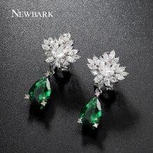NEWBARK Luxury Snowflake Teardrop Earrings Silver Color Clear And Green CZ Charming Jewelry Earrings For Women