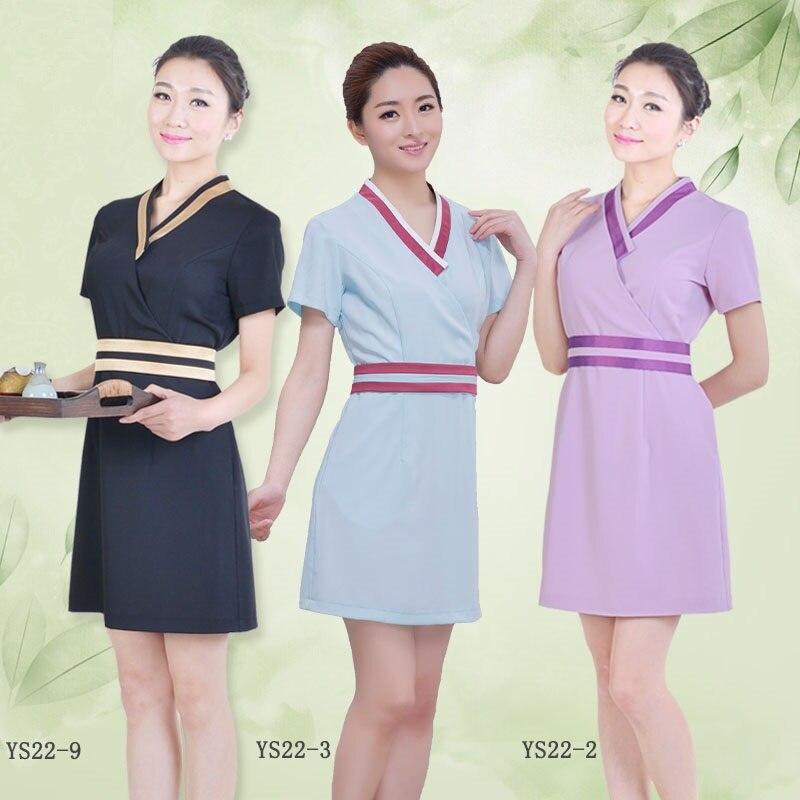 Beauty-Services Work-Wear Nail-Beautician-Uniforms Short-Sleeve Plus-Size Dress SPA One-Piece