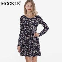 1b76b242e7ba MCCKLE mujeres otoño primavera Vintage vestido manga larga vestido Floral  vestido mujeres Retro elegante de la