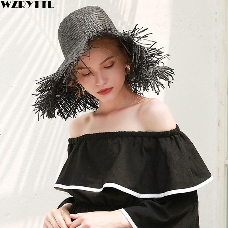 White Black Women Summer Hats Large Fringed Brim Beach Hat UPF50 UV Floppy Straw Hats Travel Kentucky Derby Hat Ladies Sun Cap